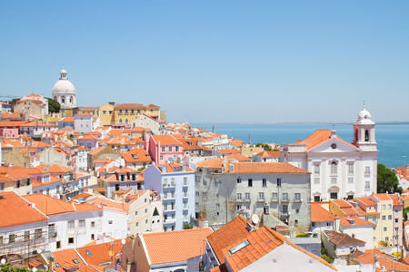 view of Alfama old town at sunny day, Lisbon, Portugal photo