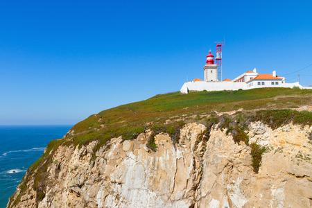 roca: Cabo da roca cape, most western part of Europe, Portugal Stock Photo