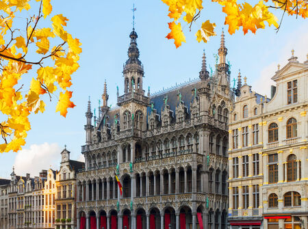 facade of Maison du Roi at fall day, Brussels, Belgium Stock Photo
