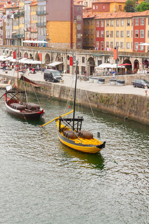 rabelo: traditional rabelo boat mooring at Ribeira embankment, old Porto, Portugal
