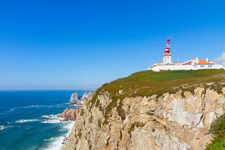 roca: Cabo da roca cape, most western part of Europe at sunny day, Portugal