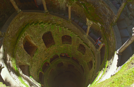 quinta: The Initiation well of Quinta da Regaleira in Sintra, Portugal.