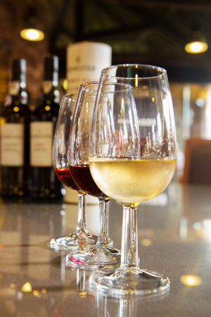 sherry: set of glasses of white and ruby port wine