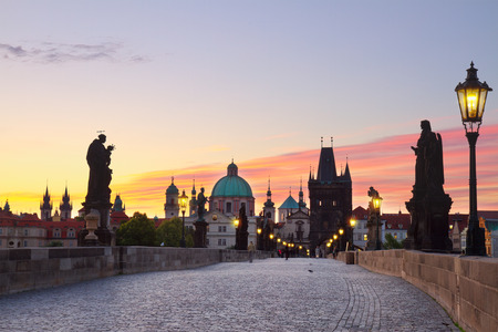 Charles bridge at sunset, Prague, Chech Republic photo