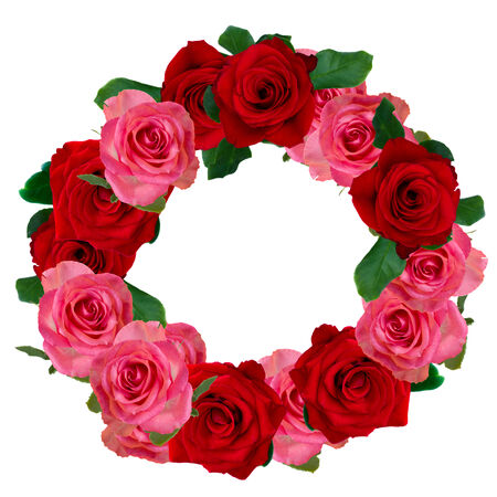 red and pink  roses wreath isolated on white background photo