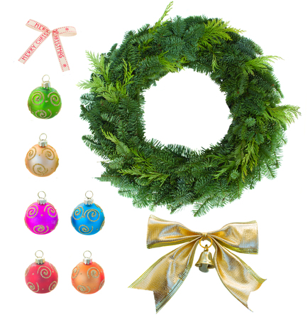 evergreen wreaths: christmas set with green christmas wreath
