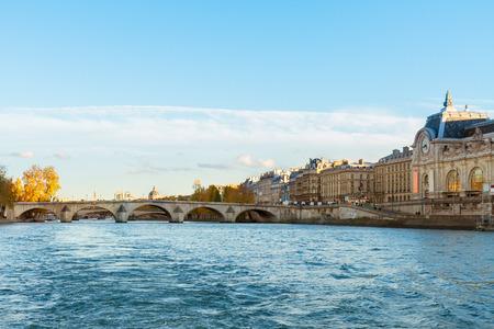 ile de france: embankment of Seine river, Paris, France Stock Photo