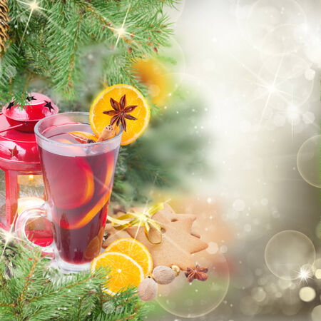 christma: christma mulled wine with fir tree