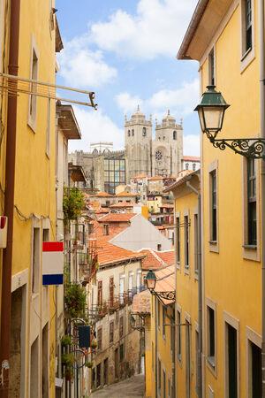 narrow  street with stairs, Porto, Portugal photo