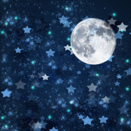 stary: blue christmas  and new years stars  on blue  with full moon  background Stock Photo