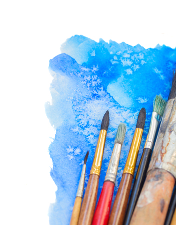 pained: brushes and watercolor pained border Stock Photo
