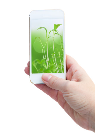 holding smart phone against  green nature  background photo