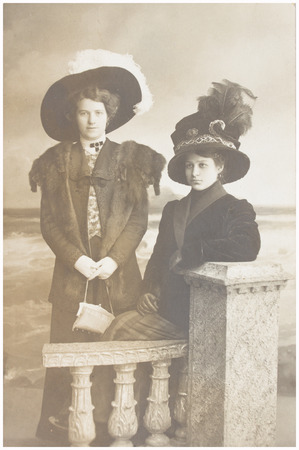 old photo  of  two women