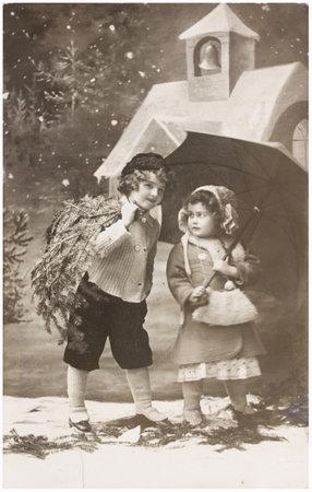 christmas scene with children