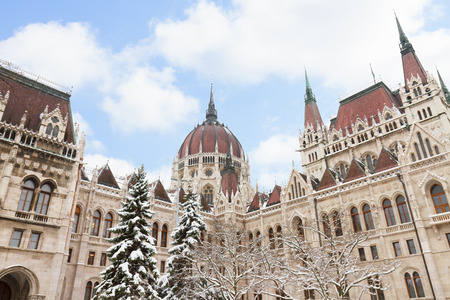 facade of parliament winter day, Budapest photo