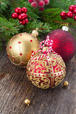 red and golden christmas balls photo