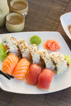lunch with  sushi dish Banco de Imagens
