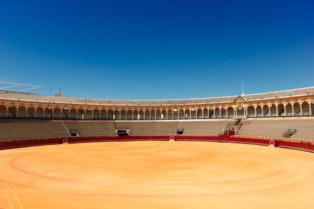 bull ring: bullfight arena  in Seville, Spain Stock Photo