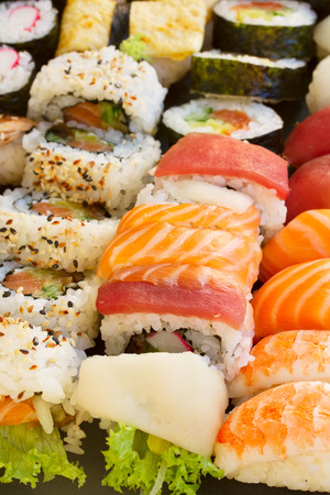 big set  with japaneese  sushi and roll dish close up Banco de Imagens
