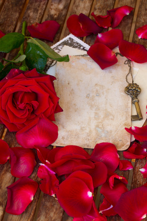 vintage background with red rose petals on wooden table photo