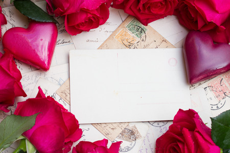 vintage background with hearts and roses photo
