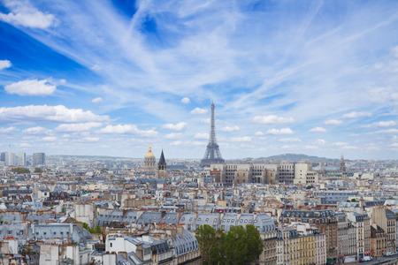 skyline of Paris with eiffel tower photo