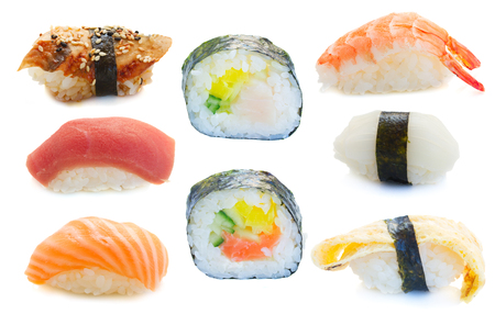 set of  shrimp, tamago and squid sushi with rolls  isolated on white background photo
