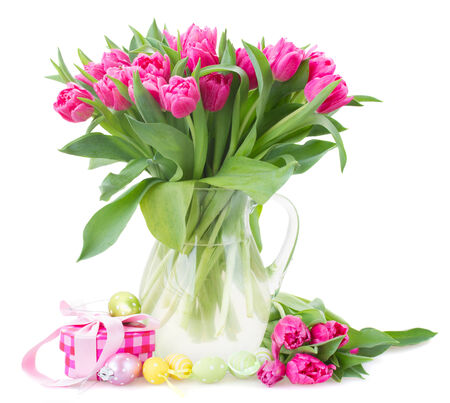 spring flowers: bunch of pink tulip flowers