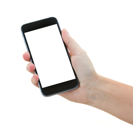 phone isolated: hand holding a modern smartphone Stock Photo