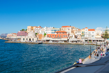 habour: venetian habour and Turkish Mosque Yiali Tzami of Chania