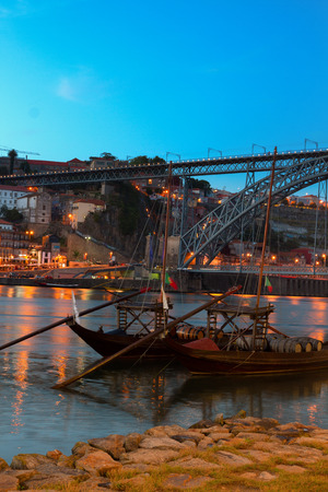 rabelo: Night scene of Porto with  Douro river and traditional port wine boats rabelo, Portugal
