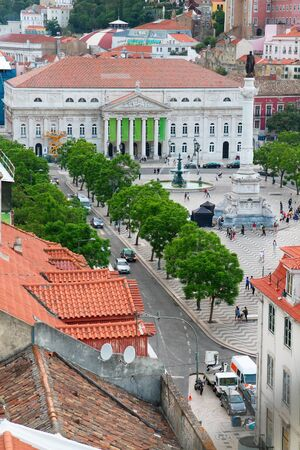 baixa: view of  Rossio square from above, Lisbon, Portugal