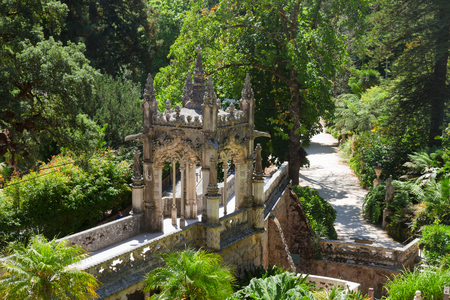 quinta: beautiful details of Quinta Regaleira at sunny day, Sintra, Portugal