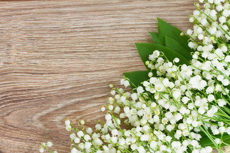 wild flowers: fresh lilly of the valley flowersborder on wooden background Stock Photo