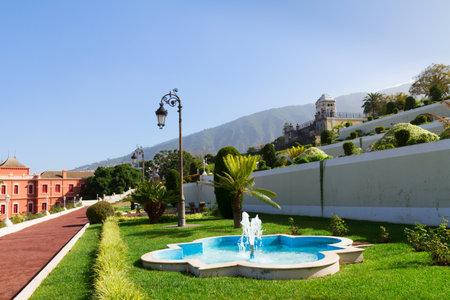 canarias: Beautiful tropical botanical gardens in La Orotava, Tenerife island, Canarias, Spain