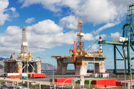 oil platforms: two oil  platforms  at port at sunny day