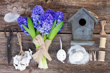 set up: Blue hyacinth  flowers and easter set up