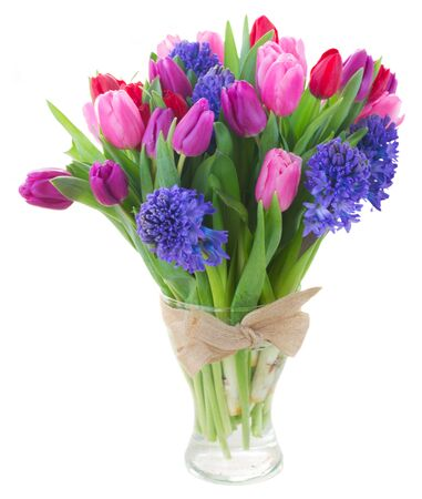 blue tulip: bouquet of   blue hyacinth and  tulips