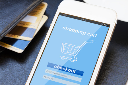 compras: concepto de compras móvil Foto de archivo