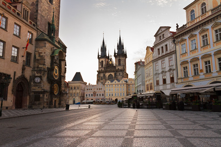 old town square: Old town square with  city hall of Prague