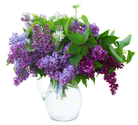 Bunch of fresh lilac flowers in glass vase close up isolated on white background