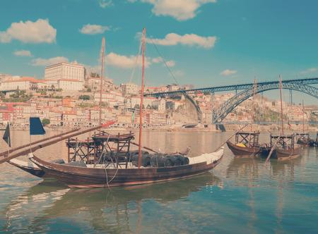 rabelo: traditional port wine boats, Porto,  Portugal Stock Photo