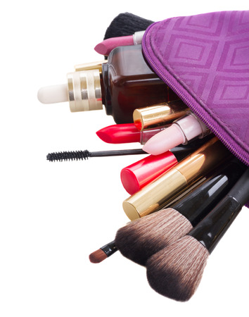 make up products: bag with make up products