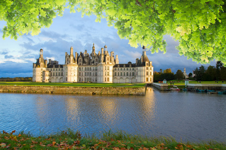Chambord chateau at sunset, France Stock Photo