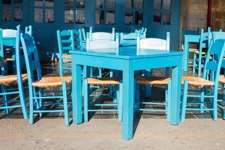 taverna: cafe with blue chairs, Crete, Greece