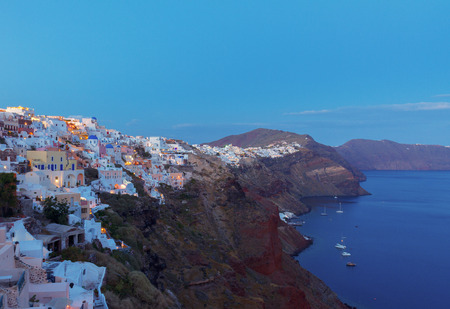 oia: Oia village at night, Santorini