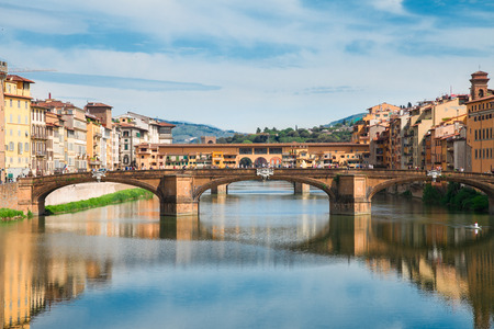 trinita: Ponte Santa Trinita bridge over the Arno River, Florence Stock Photo
