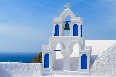 santorini island: white with blue belfry, Santorini island, Greece