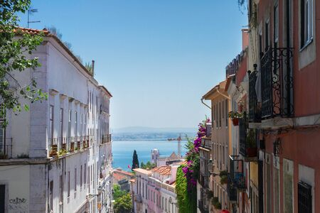 chiado: street in old town of Lisbon Stock Photo