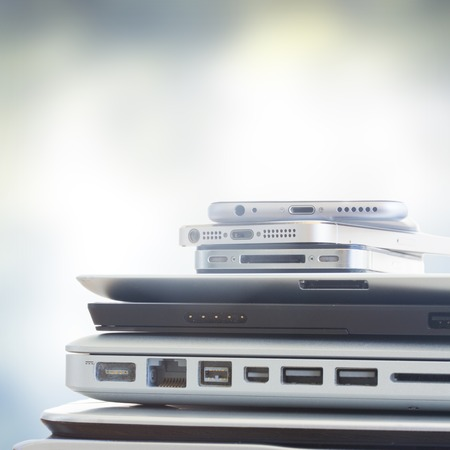 electronic background: pile of devices